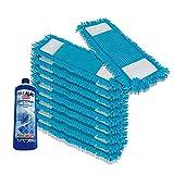 PrimeMop 10x Chenille Wischmopp Microfaser BLAU für Parkett Laminat 40cm Top Haushalt Qualität (1L GLANZREINIGER GRATIS)
