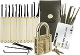 20-teiliges Lockpicking-Set mit Transparentem Vorhängeschloss & Dietrich Kit im Kreditkartenformat von LockCowboy - für Anfänger & Profis