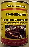 Farben-Budimex Profi-Industrie Klarlack/Bootslack/farblos/seidenmatt / 2,5 L/Spezial Klarlack für Boote, Parkettböden, Treppen, Holzterassen, Möbel u.v.m. / Alkydharzlack (Lösemittelbasis)