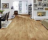 HORI® Klick Parkett 300 Dielenboden Parkettboden Eiche Various rustikal Schiffsboden 3-Stab versiegelt I Eiche I 7 Dielen im Paket = 3,19 m²