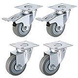 FIXKIT 4 Stück Transportrollen 50MM Lenkrollen mit Bremse für Möbel auf Parkett, Laminat oder Fliesen