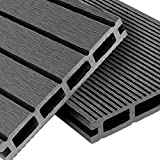 WPC Terrassendielen Basic Line - Komplett-Set Hellgrau   12m² (4m x 3m) Holz-Brett Dielen   Boden-Fliesen + Unterkonstruktion & Clips   Balkon Boden-Belag + rutschfest + witterungsbeständig